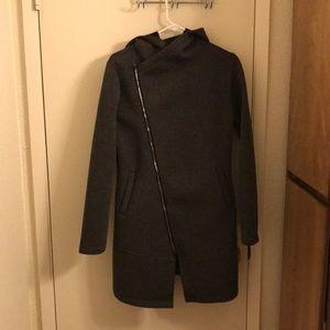 EUC Betsey Johnson long diagonal zip jacket